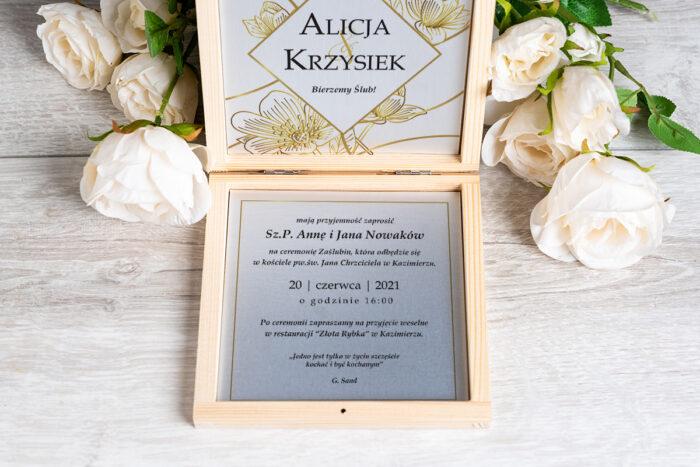 Zaproszenie ślubne w pudełeczku - wzór 6