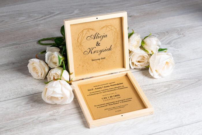Zaproszenie ślubne w pudełeczku - wzór 11