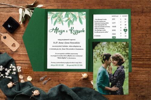 Zaproszenie-ze-zdjeciem-i-kalendarzem-w-kieszonce-wzor-green-1