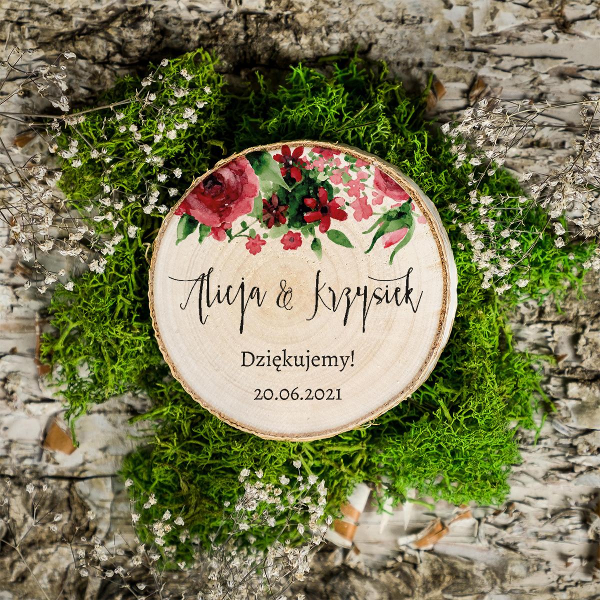 Magnes na plastrze brzozy - BOHO - Burgundowe róże