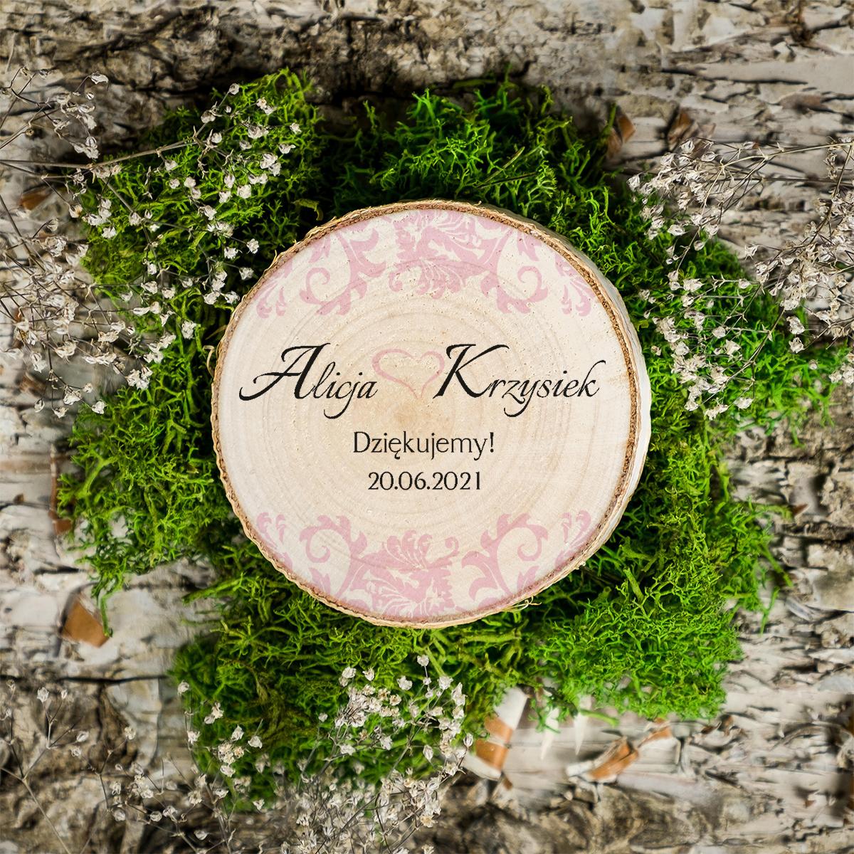 Magnes na plastrze brzozy - Ornament z kokardką - Pudrowy róż