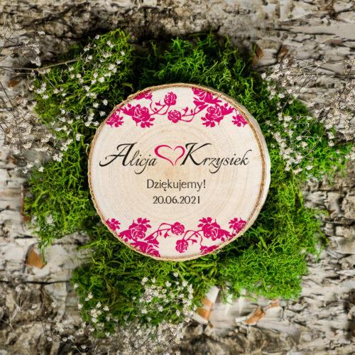 Magnes na plastrze brzozy - Ornament z kokardką - Różowe