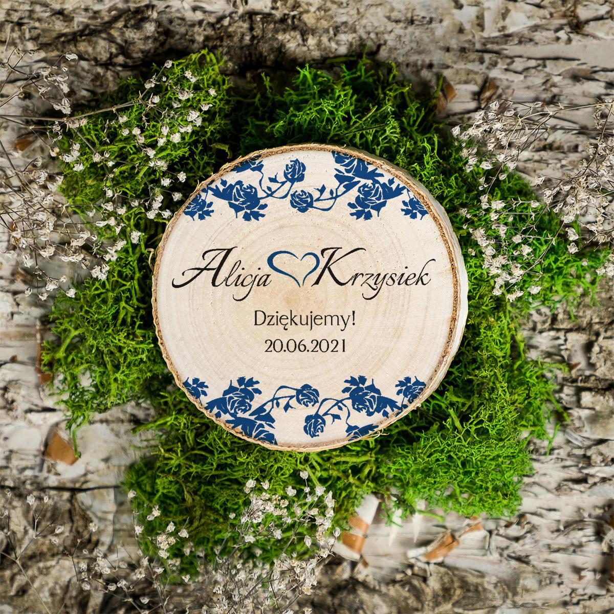 Magnes na plastrze brzozy - Ornament z kokardką - Granat