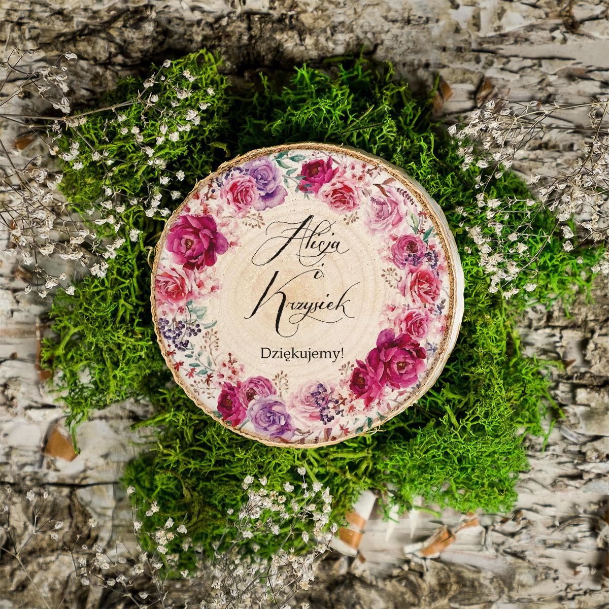 Magnes na plastrze brzozy - Róże i sukulenty