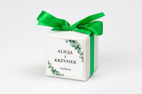 pudełeczko na krówki personalizowane z gałązkami eukaliptusa