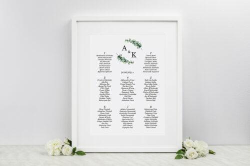 Plan stołów weselnych do zaproszenia Jednokartkowe Recyklingowe - Gałązki eukaliptusa