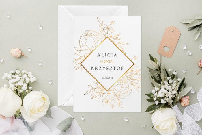 Zaproszenie ślubne - Geometryczne Kwiaty - wzór 1