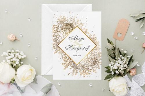 Zaproszenie ślubne - Geometryczne Kwiaty - wzór 11