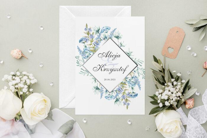 Zaproszenie ślubne - Geometryczne Kwiaty - wzór 13