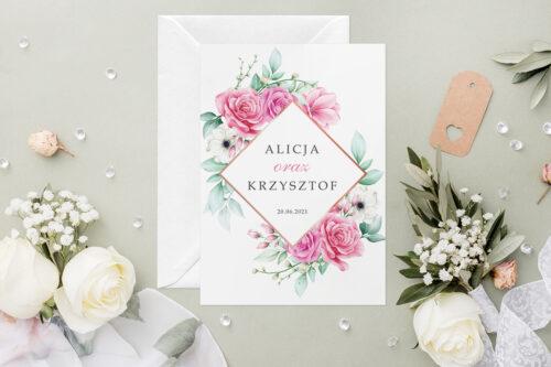 Zaproszenie ślubne - Geometryczne Kwiaty - wzór 2
