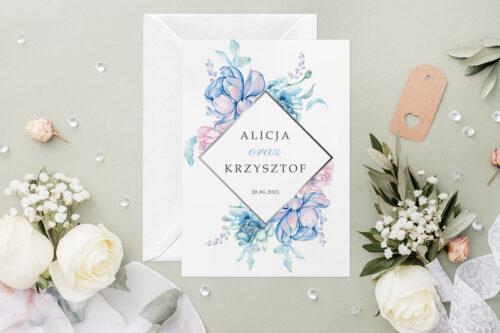 Zaproszenie ślubne - Geometryczne Kwiaty - wzór 3