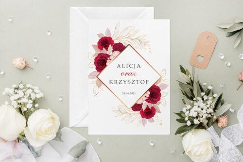 Zaproszenie ślubne - Geometryczne Kwiaty - wzór 4