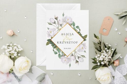 Zaproszenie ślubne - Geometryczne Kwiaty - wzór 6
