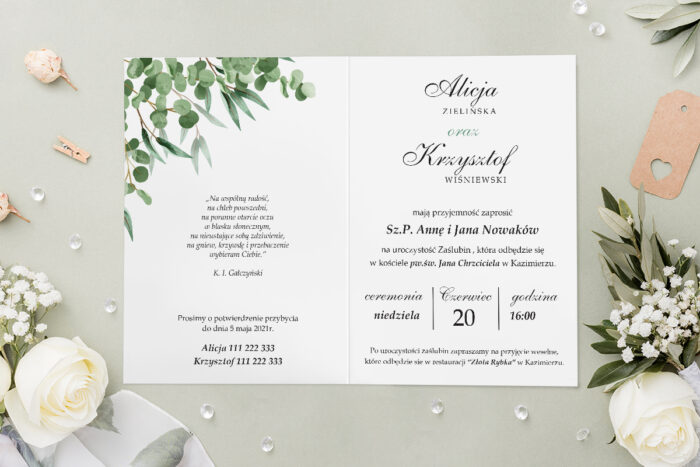 Zaproszenie ślubne - Geometryczne Kwiaty - wzór 10 - środek