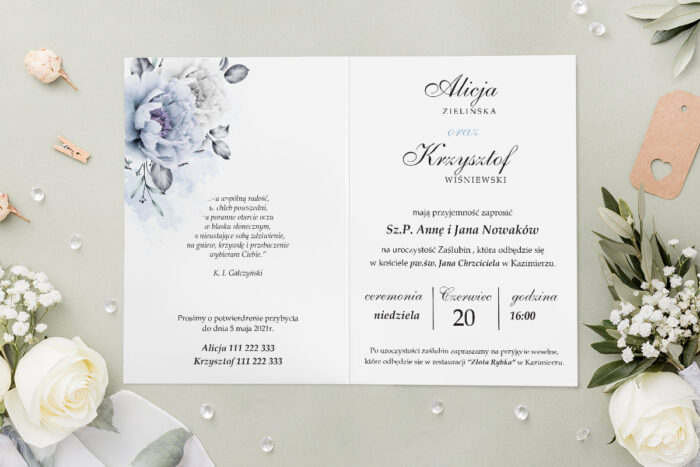 Zaproszenie ślubne - Geometryczne Kwiaty - wzór 8 - środek