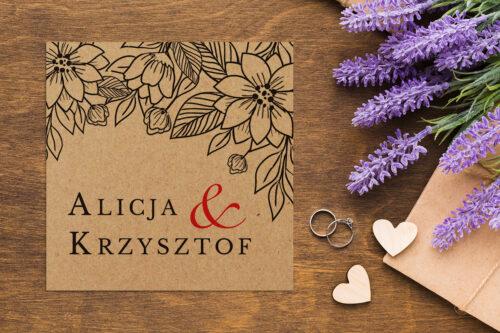 Zaproszenie ślubne EKO z motywem kwiatowym - wzór 1