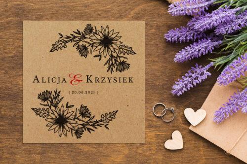 Zaproszenie ślubne EKO z motywem kwiatowym - wzór 11