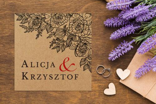 Zaproszenie ślubne EKO z motywem kwiatowym - wzór 3