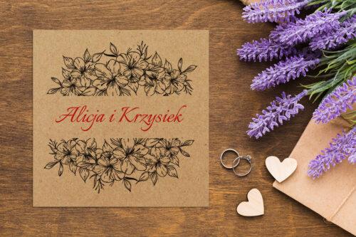 Zaproszenie ślubne EKO z motywem kwiatowym - wzór 4