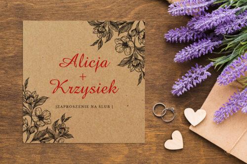 Zaproszenie ślubne EKO z motywem kwiatowym - wzór 6