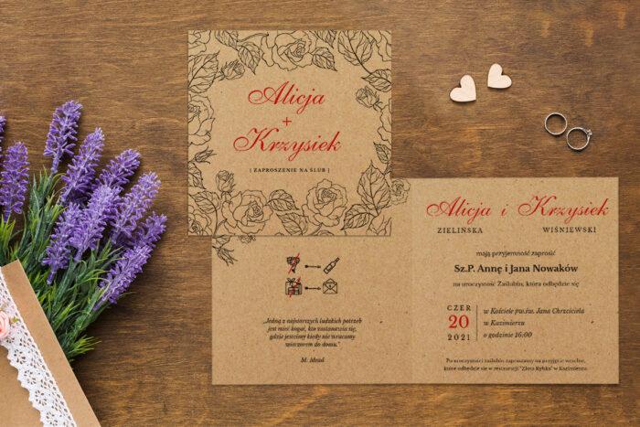 Zaproszenie ślubne EKO z motywem kwiatowym - wzór 10