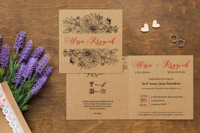 Zaproszenie ślubne EKO z motywem kwiatowym - wzór 12