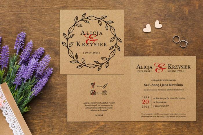 Zaproszenie ślubne EKO z motywem kwiatowym - wzór 9