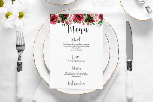 Menu weselne - Burgundowe róże
