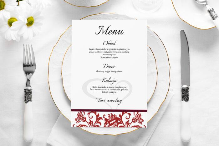 menu-weselne-ornament-z-kokardka-bordowe-papier-satynowany