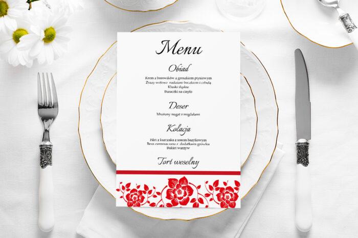 menu-weselne-ornament-z-kokardka-czerwone-papier-satynowany