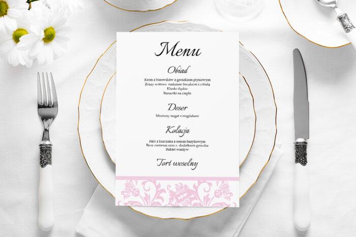 menu-weselne-ornament-z-kokardka-pudrowy-roz-papier-satynowany