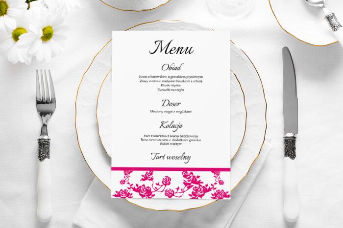 menu-weselne-ornament-z-kokardka-rozowe-papier-satynowany