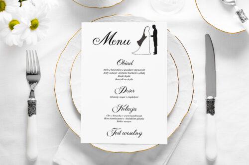 Menu weselne - Black&White - wzór 1