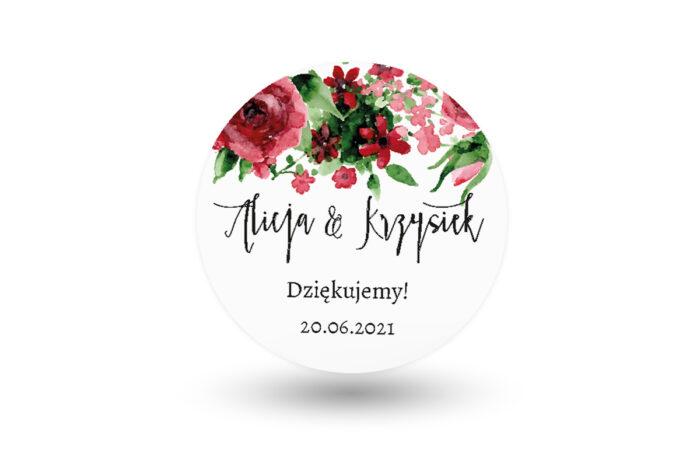 Naklejki-okragle-BOHO-Burgundowe-roze-