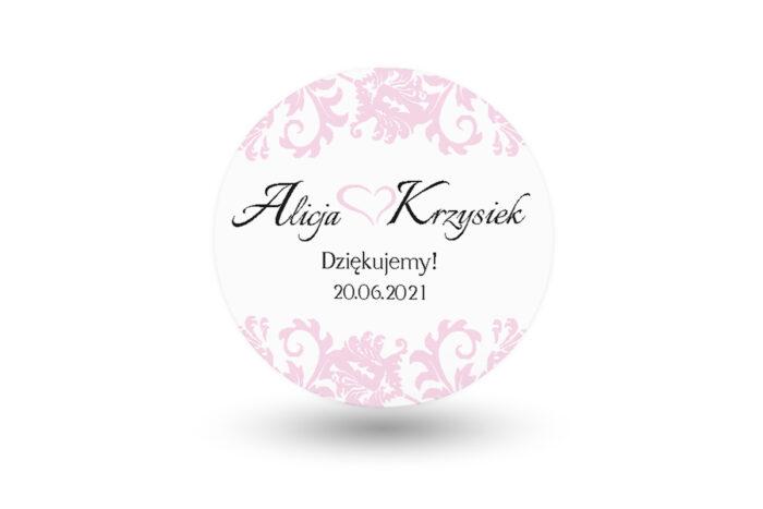 Naklejki-okragle-Ornament-z-kokardka-na-pasku-pudrowy-roz-wzor-4-