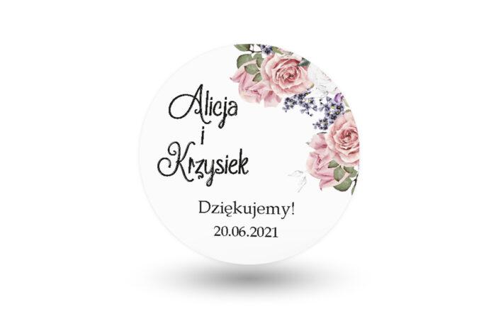 naklejki okrągłe weselne pastelowe róże