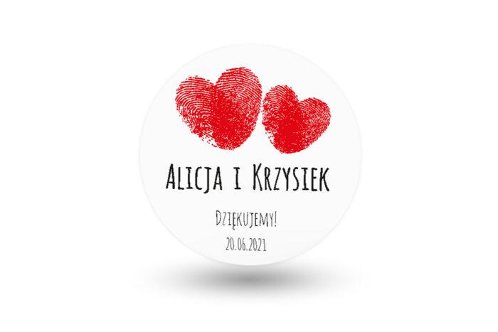 naklejki okrągłe weselne czerwone serca