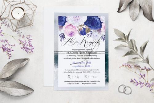 Eleganckie zaproszenie ślubne Kwiaty&Srebro - wzór 3