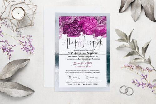 Eleganckie zaproszenie ślubne Kwiaty&Srebro - wzór 9
