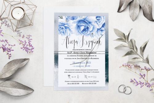 Eleganckie zaproszenie ślubne Kwiaty&Srebro - wzór 10