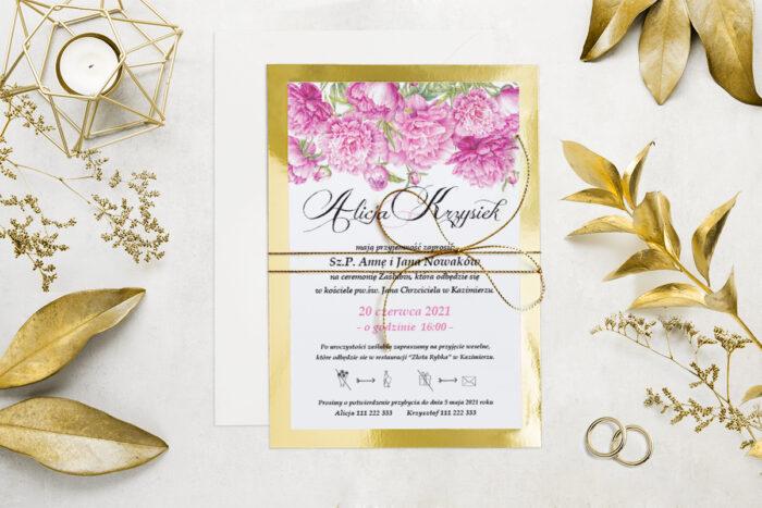 eleganckie-zaproszenie-slubne-kwiatyzloto-wzor-2-podkladki-podkladka-srebrna-b6-papier-matowy-350g-koperta-b6-szara-bez-wklejki-dodatki-sznurek-zloty-metalizowany