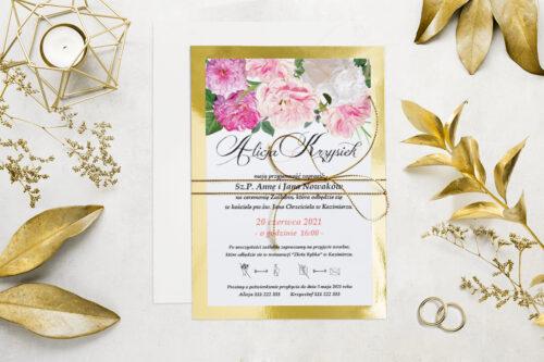 Eleganckie zaproszenie ślubne Kwiaty&Złoto - wzór 3