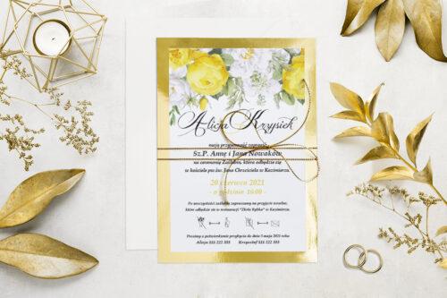 Eleganckie zaproszenie ślubne Kwiaty&Złoto - wzór 5