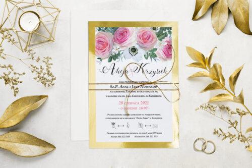 Eleganckie zaproszenie ślubne Kwiaty&Złoto - wzór 6