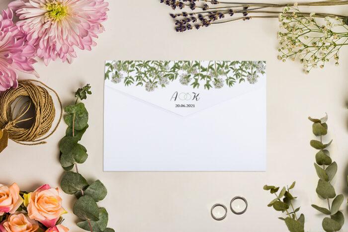 zaproszenie ślubne w stylu rozkladanej koperty wzór 2