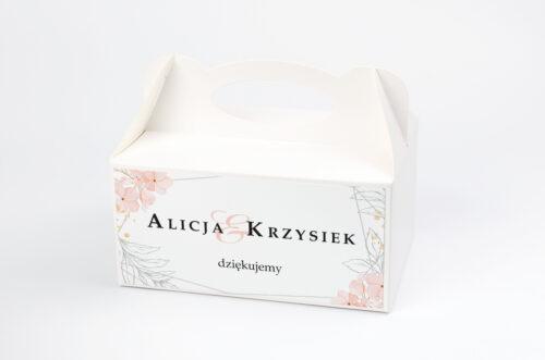 Pudełko na ciasto pasujące do zaproszeń na pleksie - wzór 12