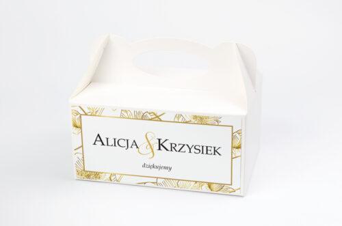 Pudełko na ciasto pasujące do zaproszeń w pudełeczku - wzór 6
