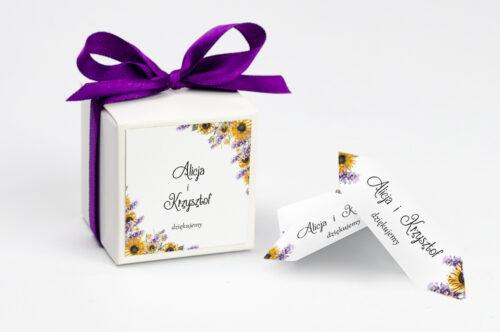 Ozdobne pudełeczko z personalizacją - Ze zdjęciem i sznurkiem - Słoneczniki z lawendą
