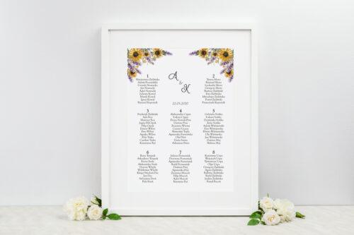 Plan stołów weselnych - Ze zdjęciem i sznurkiem – Słoneczniki z lawendą