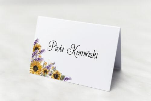 Winietka ślubna - Ze zdjęciem i sznurkiem - Słoneczniki z lawendą